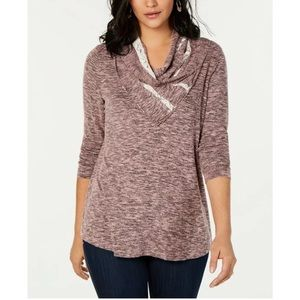 New Style & Co cowl neck purple shirt sweater top